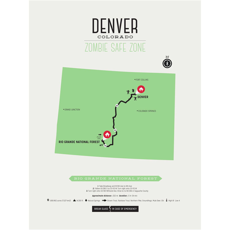 Zombie Safe Zone Map // Denver (Steel Blue)