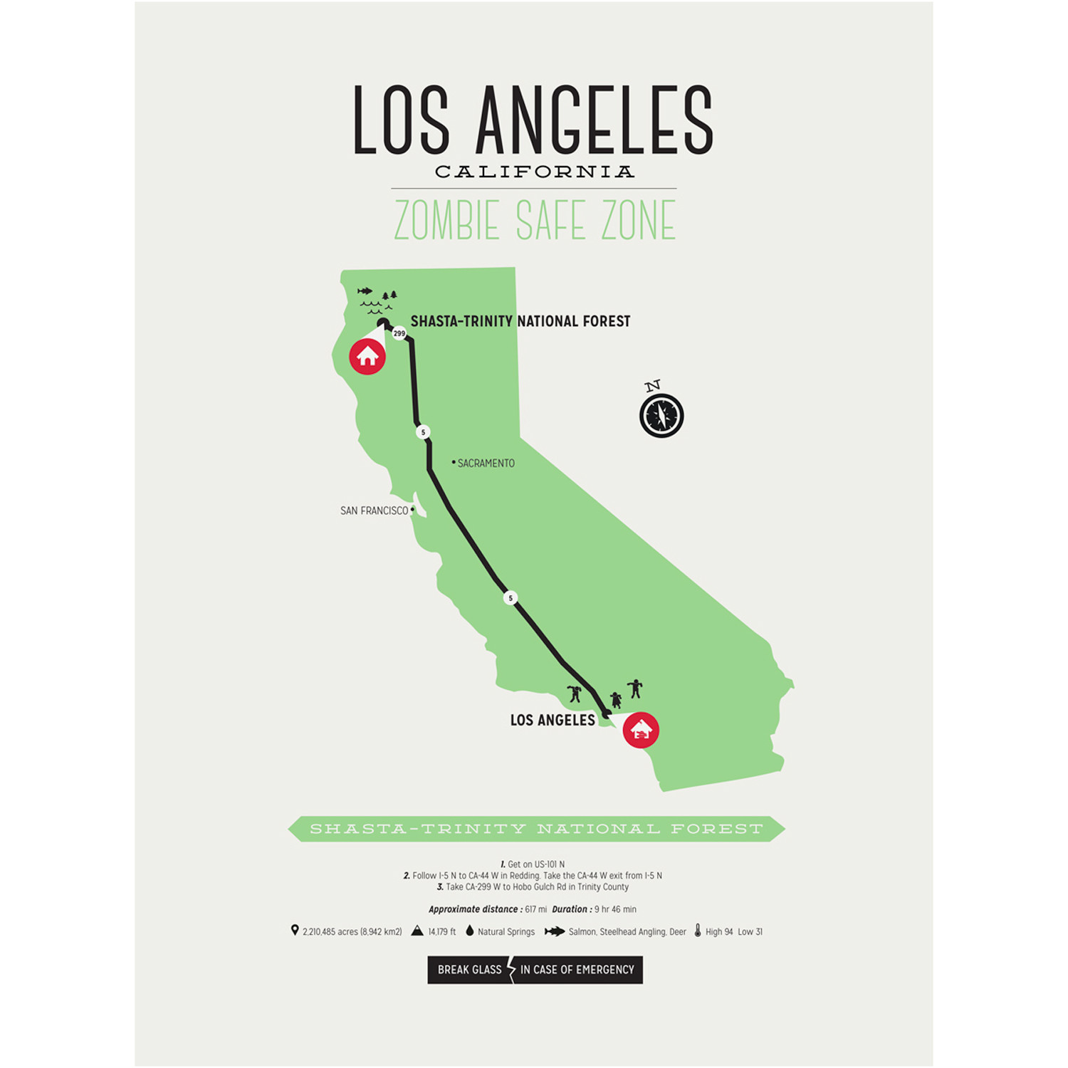Bad Areas Of Los Angeles Map.Zombie Safe Zone Map Los Angeles Steel Blue Design Different