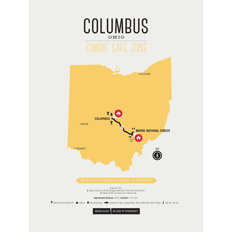 Zombie Safe Zone Map Columbus Mustard Design Different