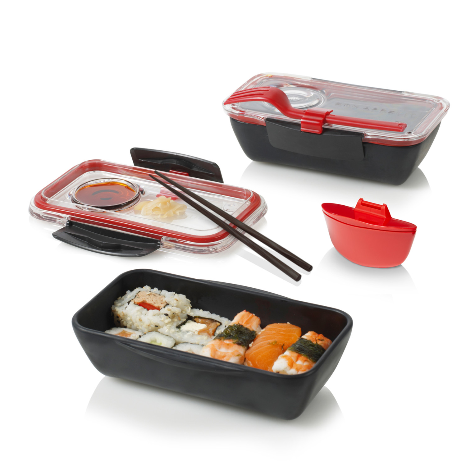 bento box lunch pot black red black blum touch. Black Bedroom Furniture Sets. Home Design Ideas