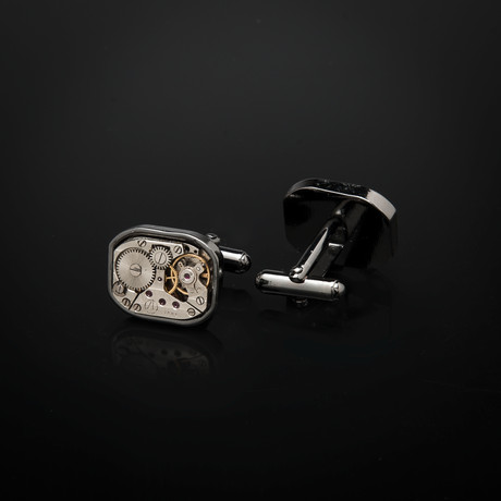 Watch Movement Cufflinks // Large Rectangular (Silver)