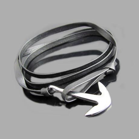 Genuine Leather & Steel Anchor Bracelet (Brown)