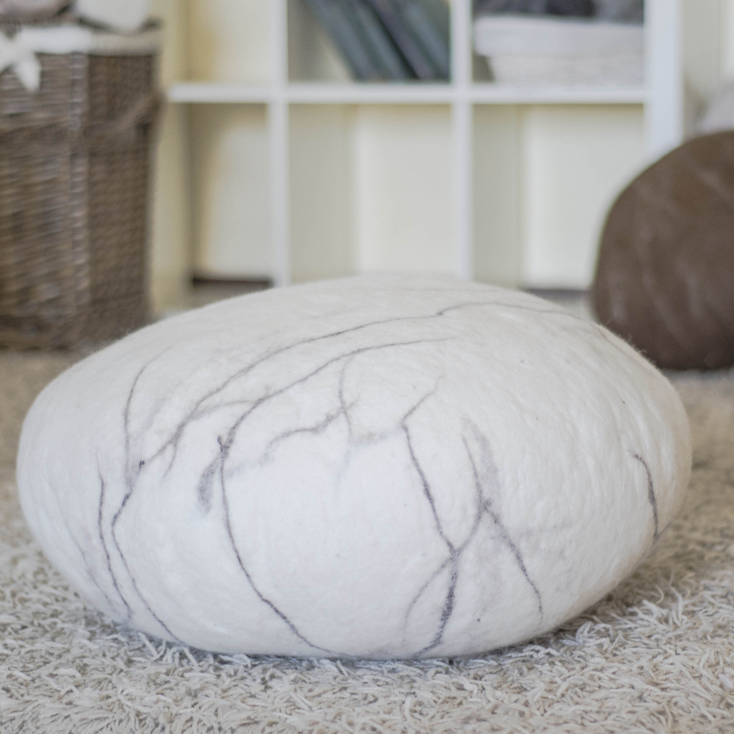 Rock Floor Pillows : Felted Wool Stones - Home Design