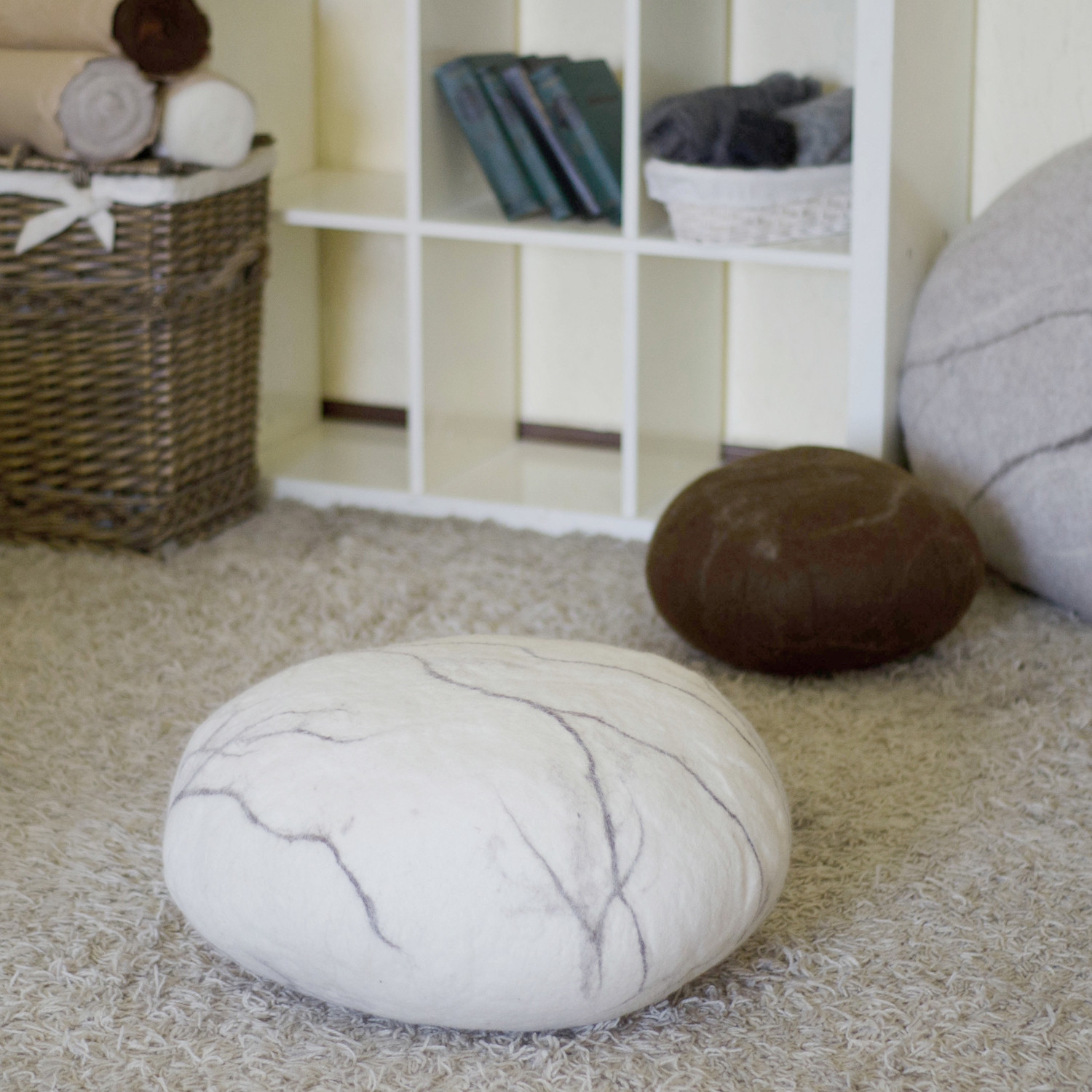 Floor Pillows Stones : Felted Wool Stone Floor Cushion // Medium (Light Gray) - VladaHom - Touch of Modern
