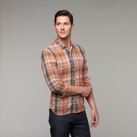 French Seam Slim Fit Button-Up // Orange Plaid