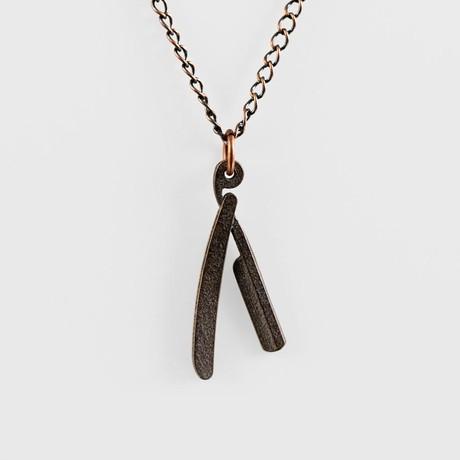 Straight Razor Necklace Bronze Gotham Smith Touch
