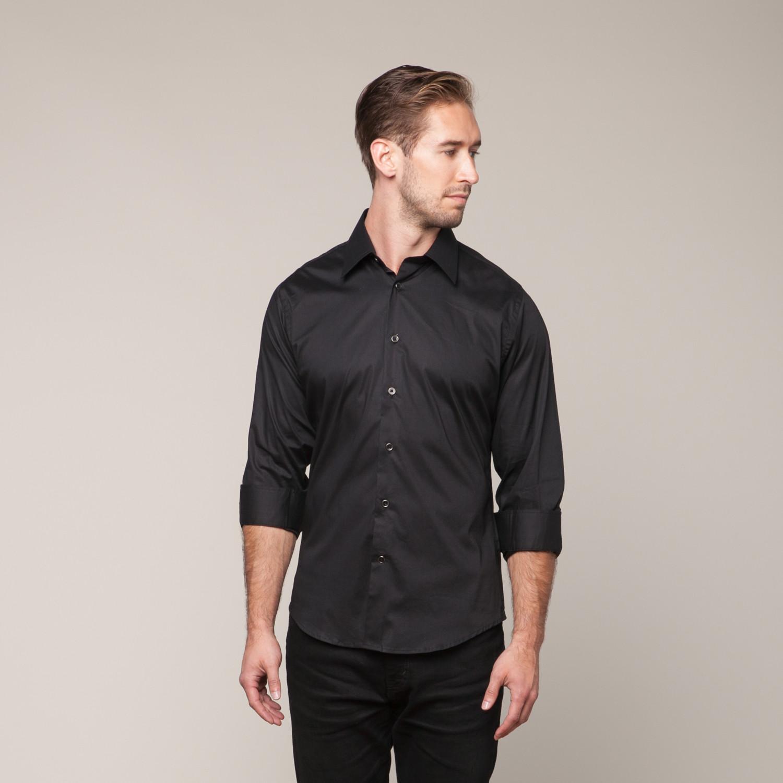 Button Down Slim Fit Shirt Black Xs Karako Suits