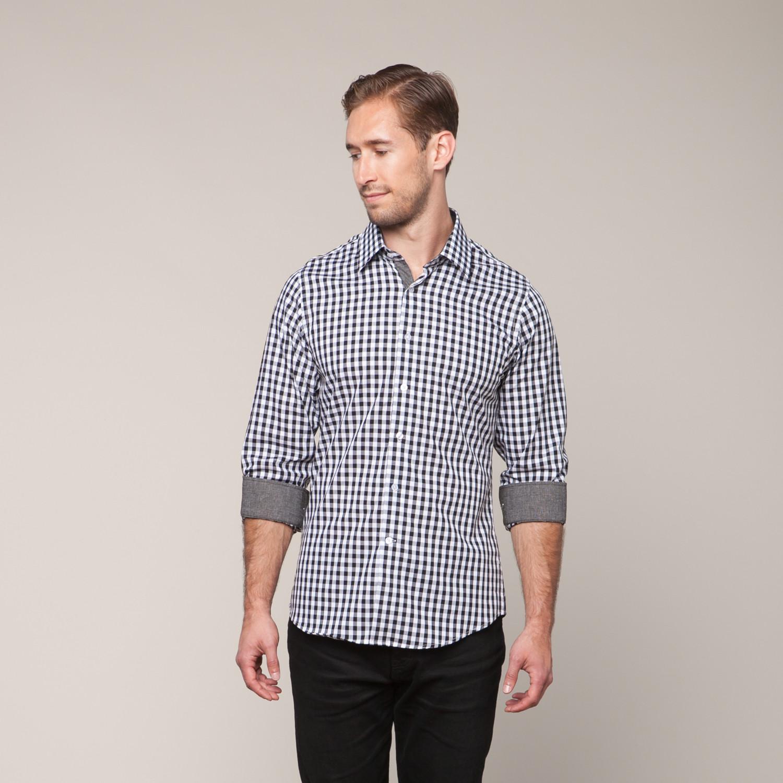 Button Down Slim Fit Shirt Black White Xs Karako