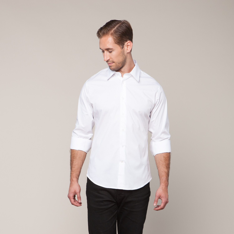 Button down slim fit shirt white xs karako suits for Slim fit white button down shirt