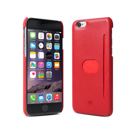 id America // Wall St. Genuine Leather Case iPhone 6+ // Red (With Oleophobic Screen Protector)