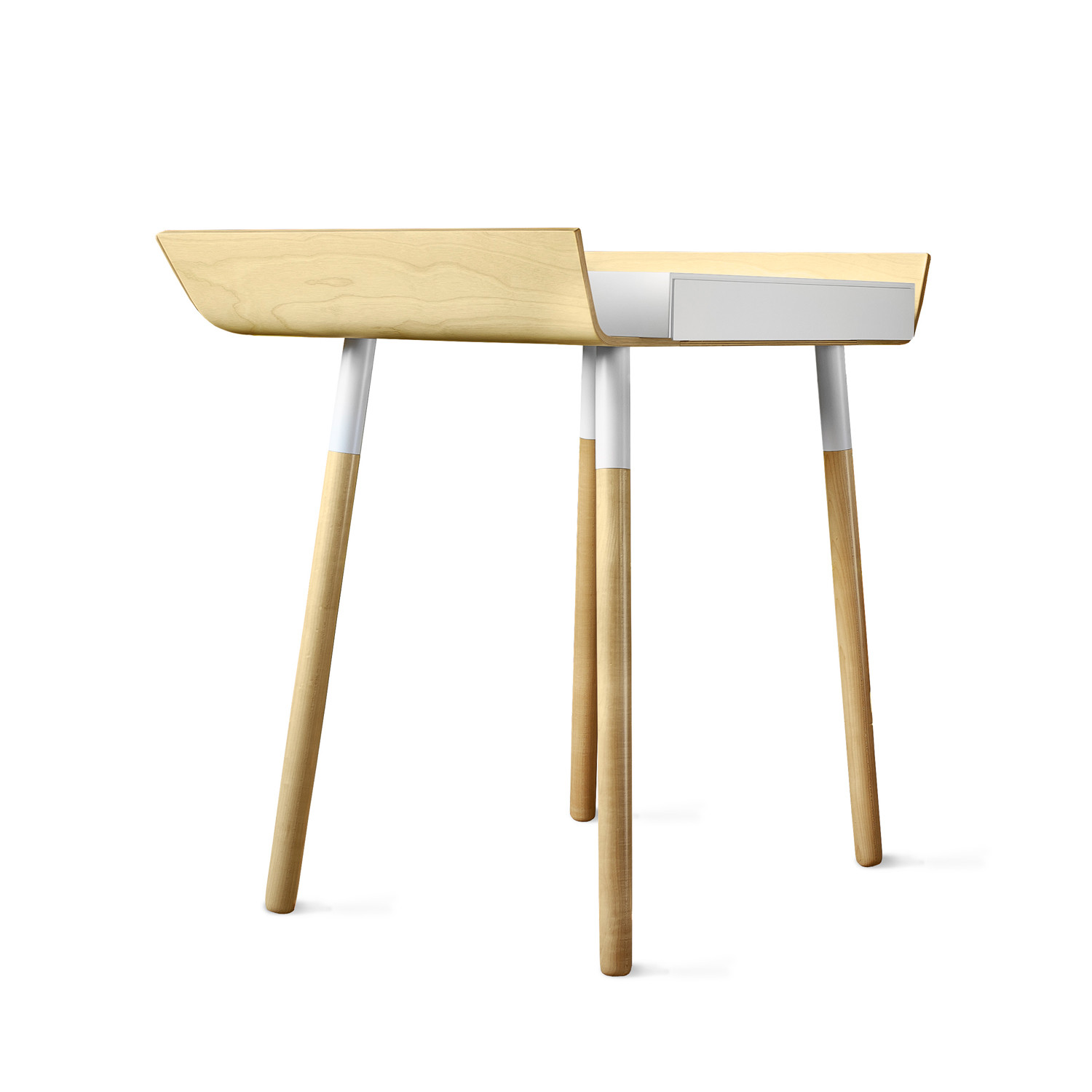 My Writing Desk // Single Drawer // White EMKO Touch Of Modern. Full resolution  image, nominally Width 1500 Height 1500 pixels, image with #513314.