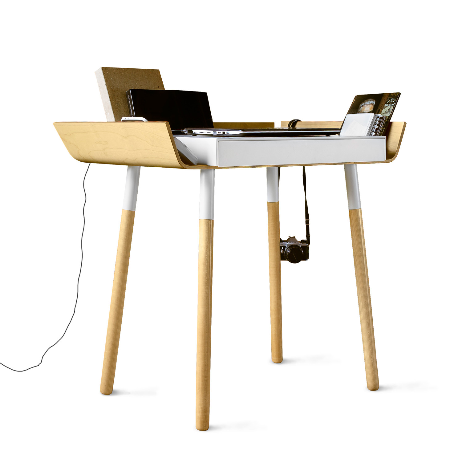 My Writing Desk // Single Drawer // White EMKO Touch Of Modern. Full resolution  image, nominally Width 1500 Height 1500 pixels, image with #A87723.