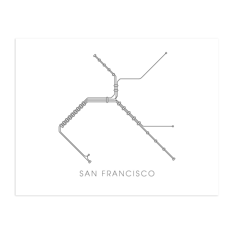 San Francisco Bart Map 13 X 19 Print Metromaps Touch Of Modern