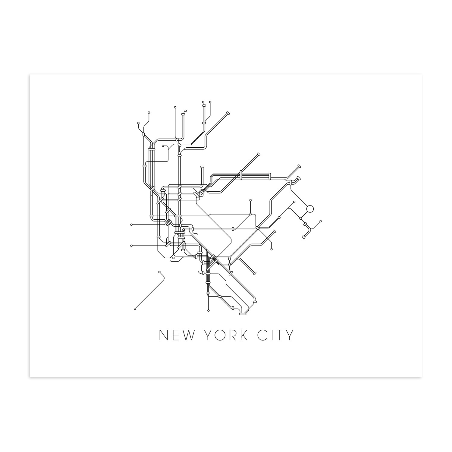 New york subway map 16 x 20 canvas metromaps touch for Carrelage style metro new york