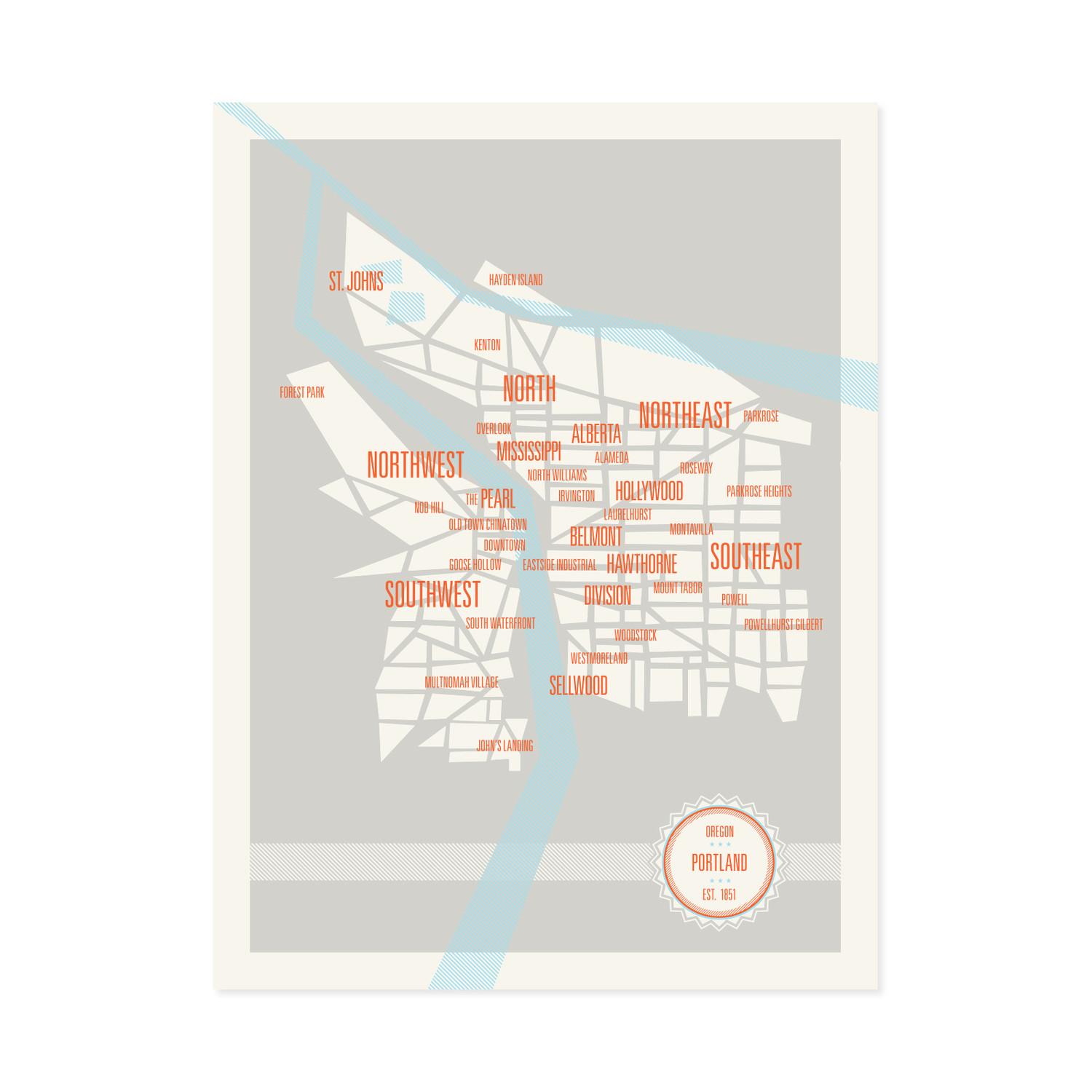 Portland Neighborhoods Map - These are Things - Touch of Modern