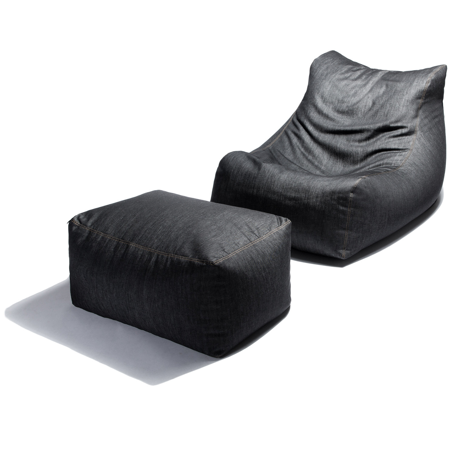 Jaxx Ponce Bean Bag Chair With Leon Ottoman