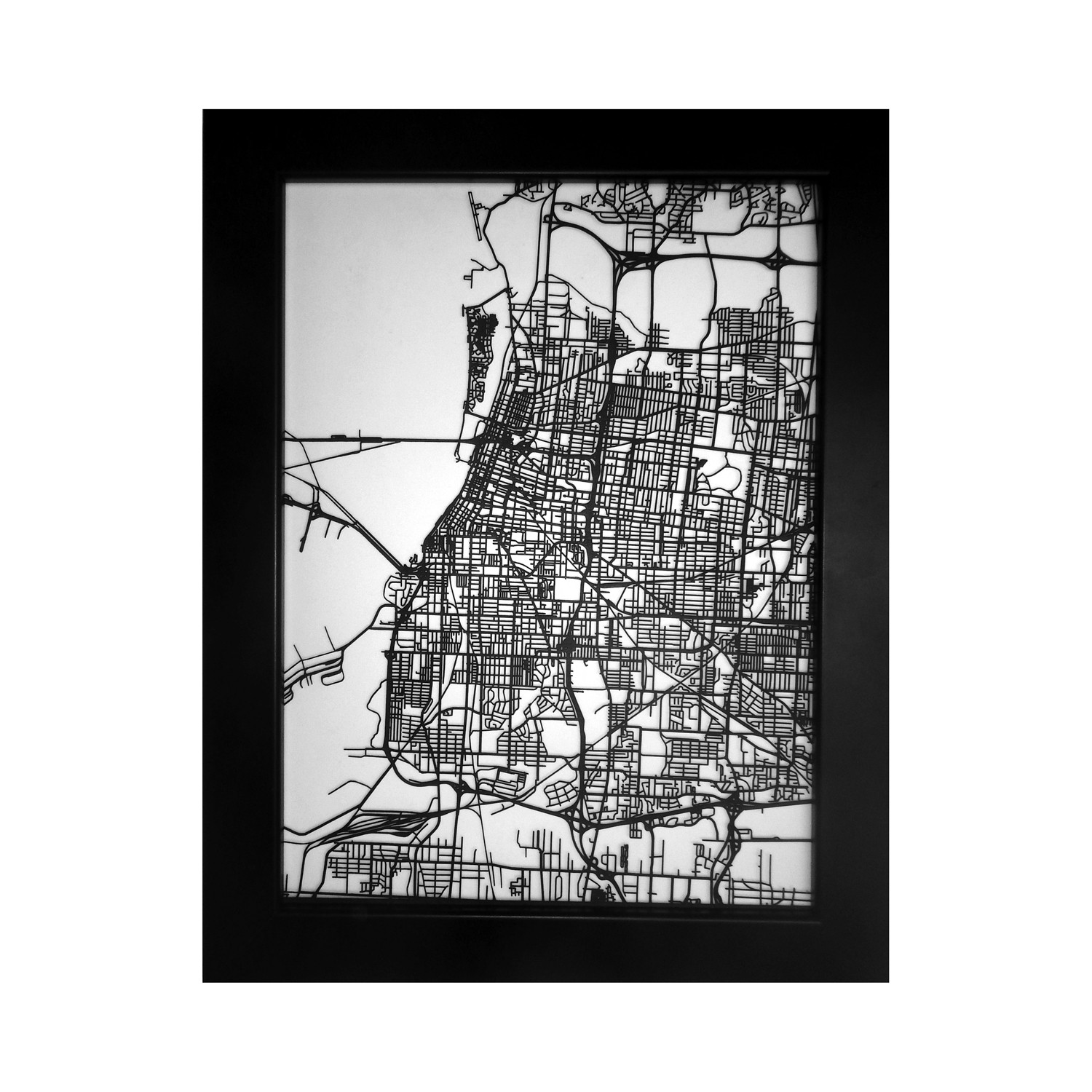 Memphis Street Map Size 11x14 CarbonLight Touch of Modern