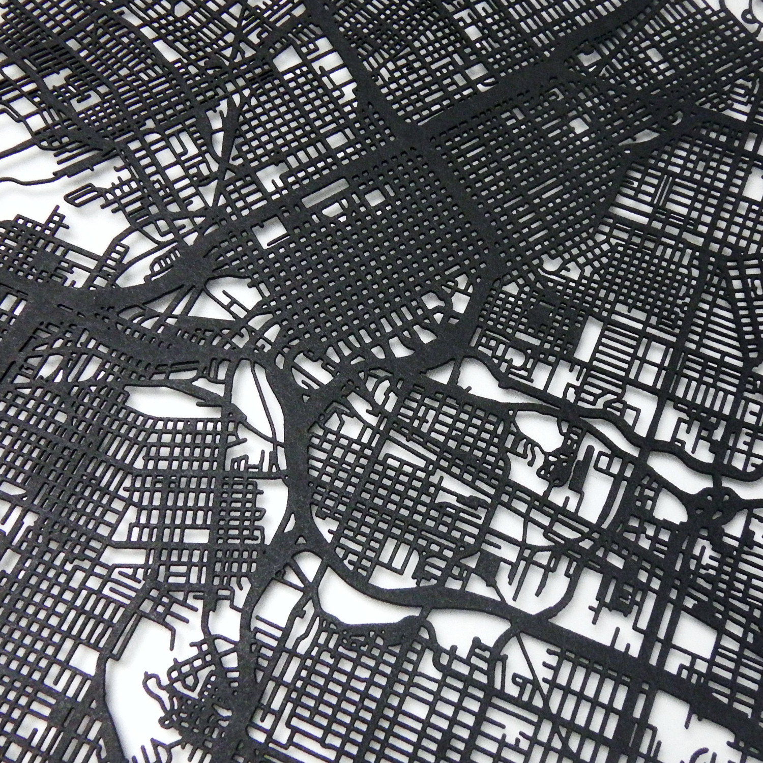 Houston Street Map Size 11x14 CarbonLight Touch of Modern