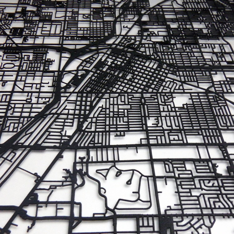 Las Vegas Street Map Size X CarbonLight Touch Of Modern - Las vegas street map
