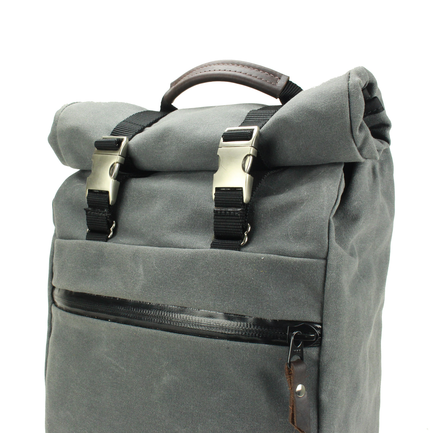 Waxed Canvas Roll Top Backpack - Rugged Material - Touch of