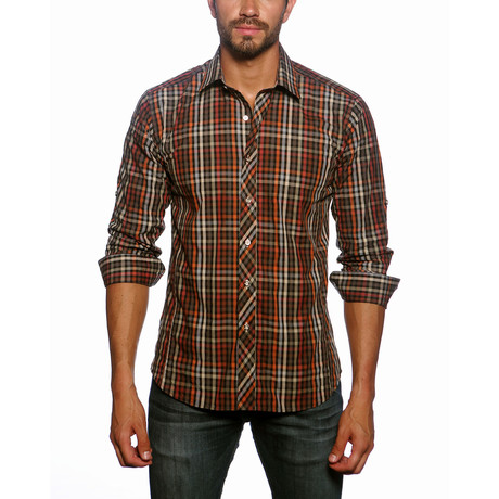 Jared Lang // Long Sleeve Button Up Shirt // Brown Check (2XL)