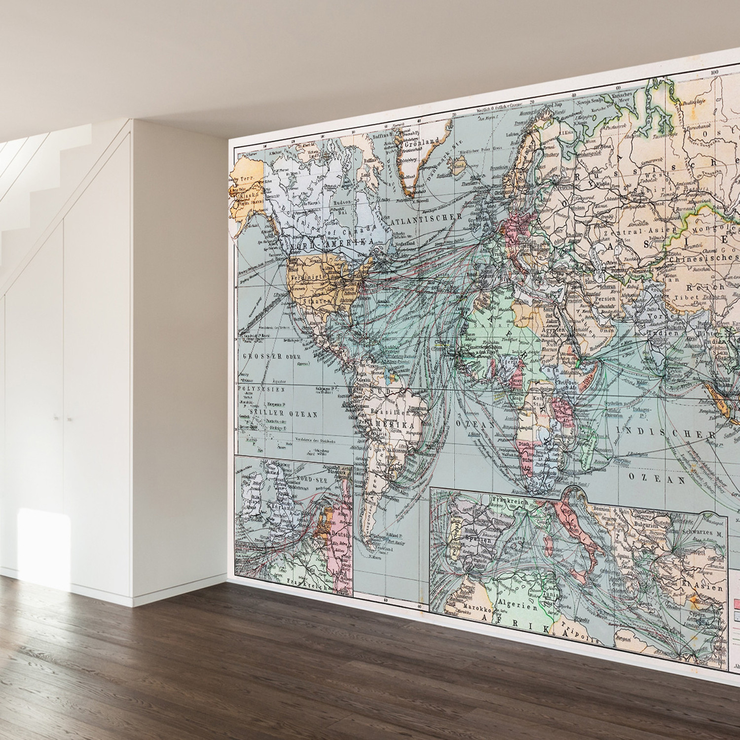 Vintage world map wall mural decal 100 l x 100 w walls for Antique world map wall mural