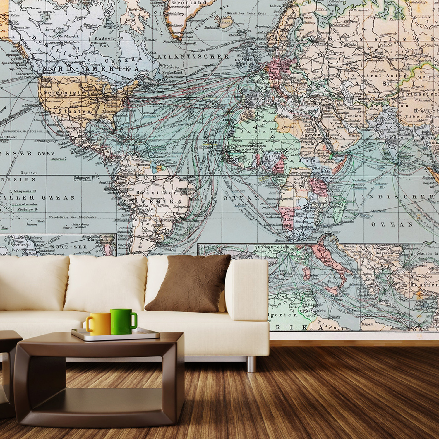 "Vintage World Map Wall Mural Decal 100""L x 100""W Walls"