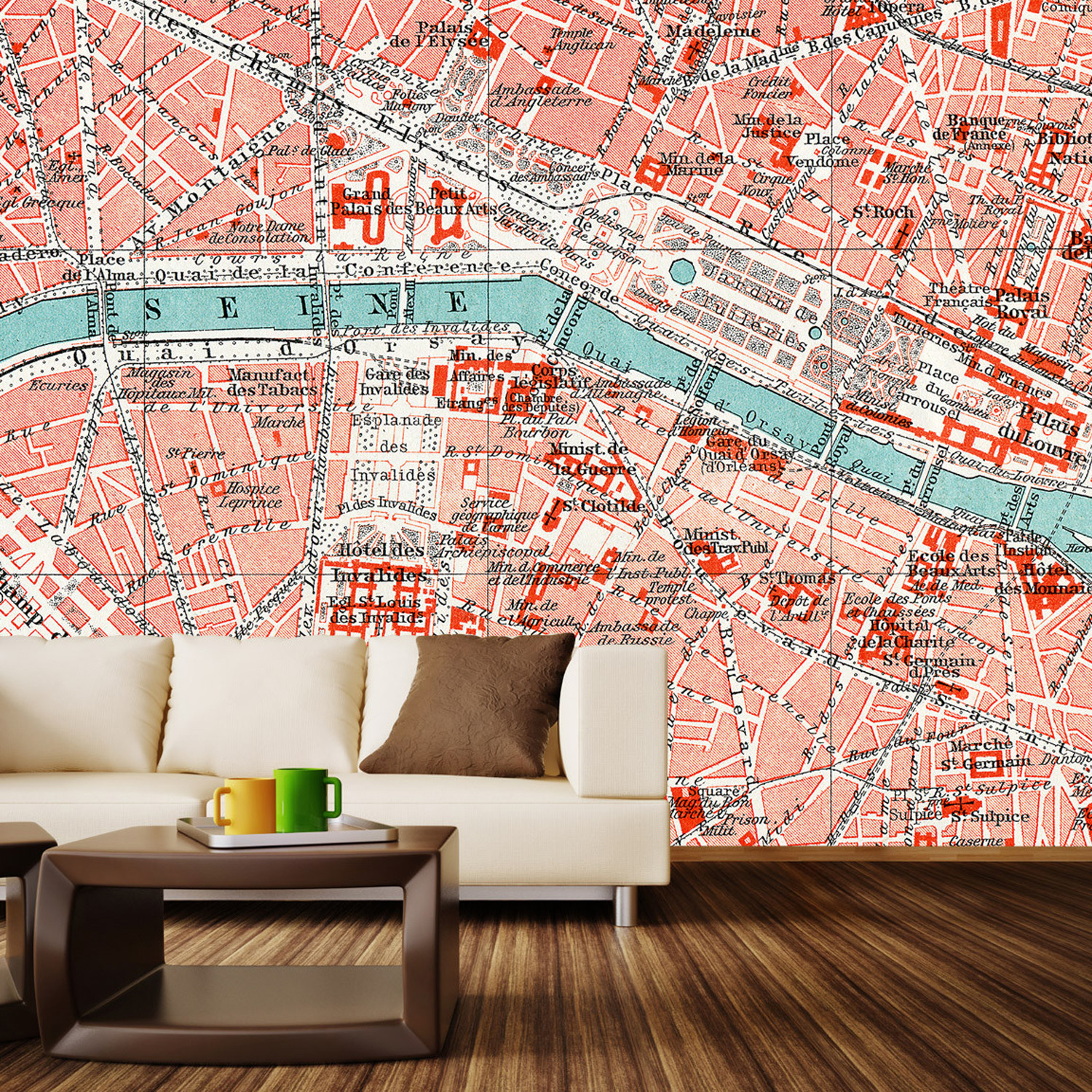 Parisian Map Wall Mural Decal L X W Walls Need Love - Map wall mural decal