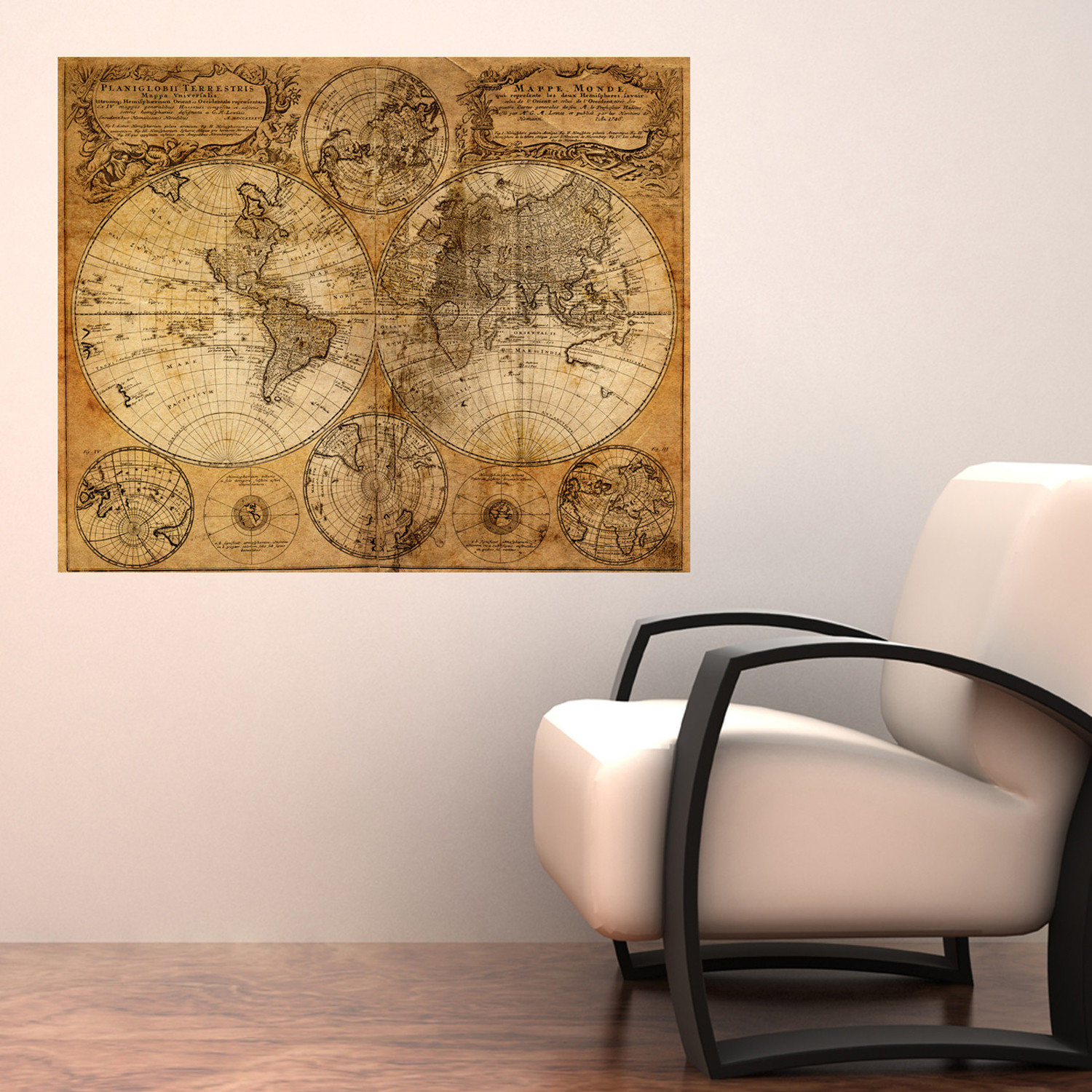 mappemonde world map decal walls need love touch of modern. Black Bedroom Furniture Sets. Home Design Ideas