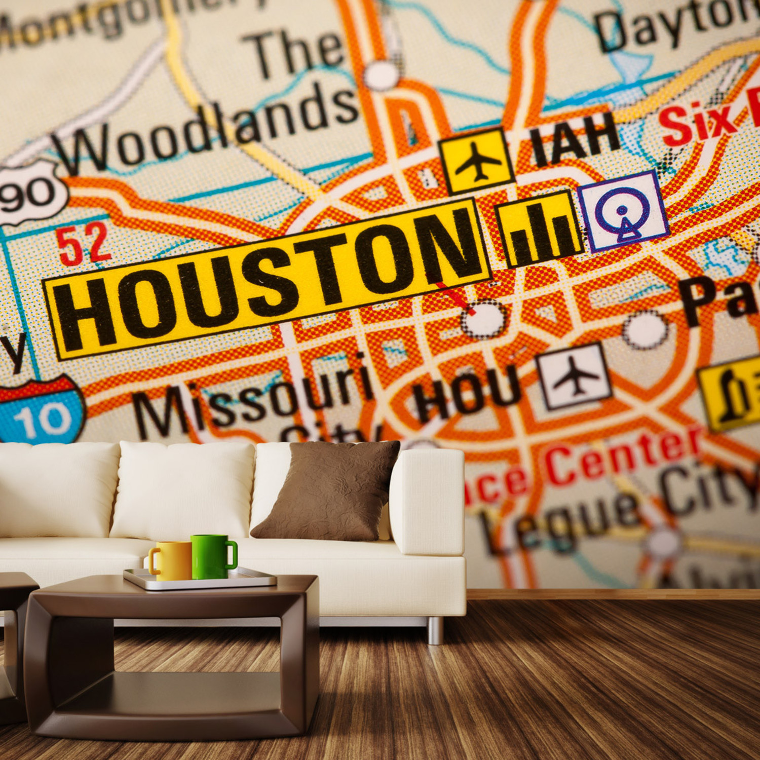 Houston Map Wall Mural Decal L X W Walls Need Love - Map wall mural decal