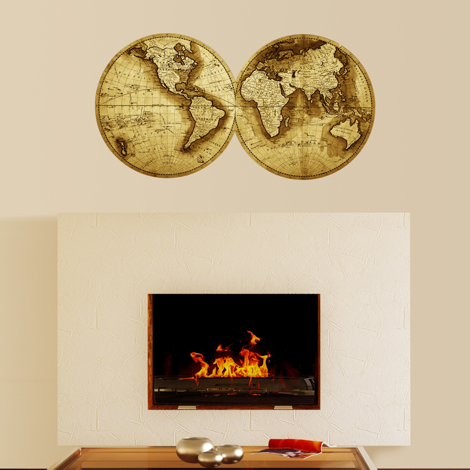 Double sphere world map decal walls need love touch of modern double sphere world map decal gumiabroncs Gallery