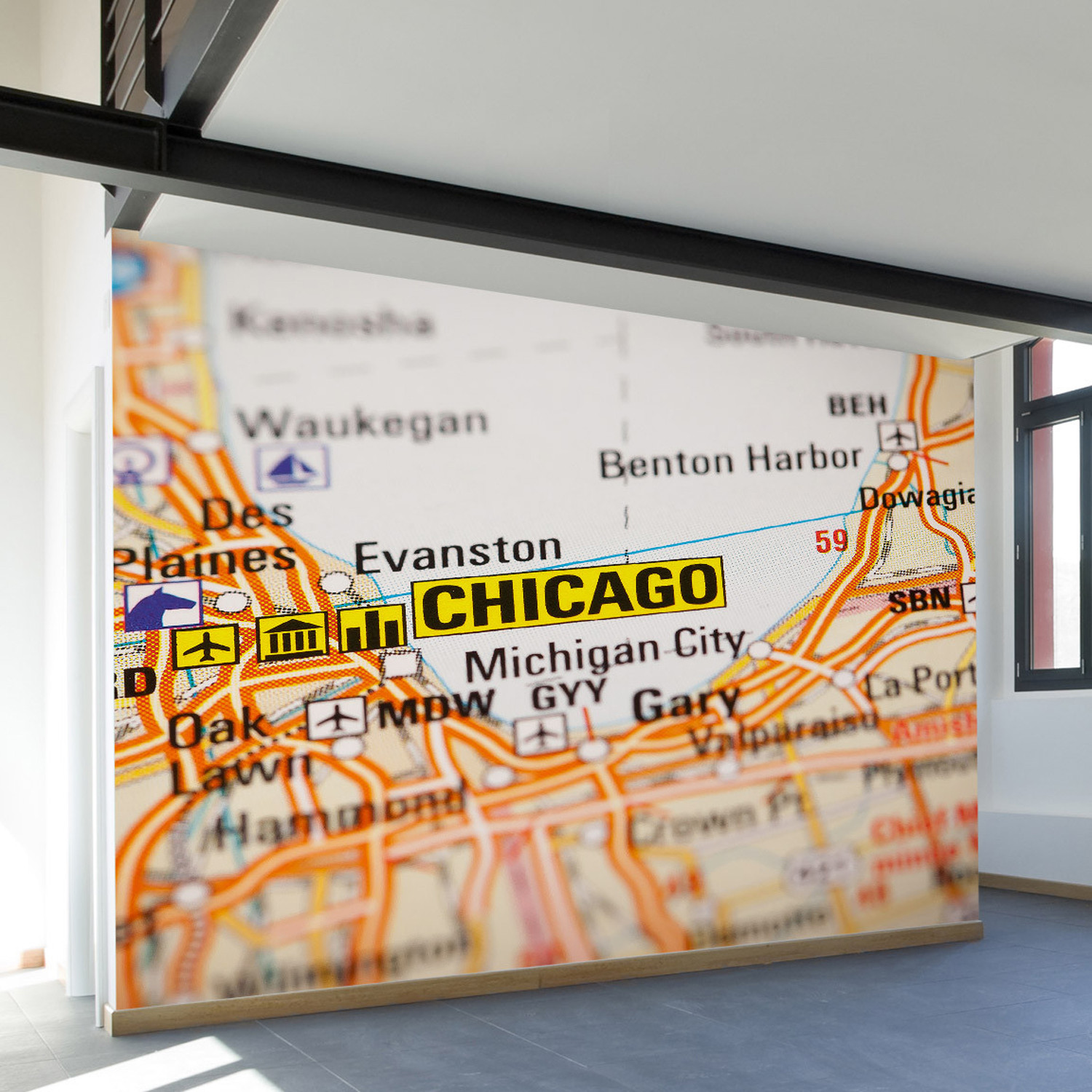 Chicago map wall mural decal 100 l x 100 w walls need for Chicago wall mural