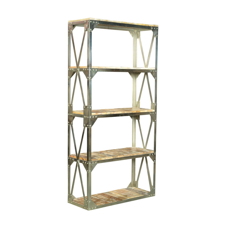modern bibliotheque industrial bookshelf nickel finish. Black Bedroom Furniture Sets. Home Design Ideas