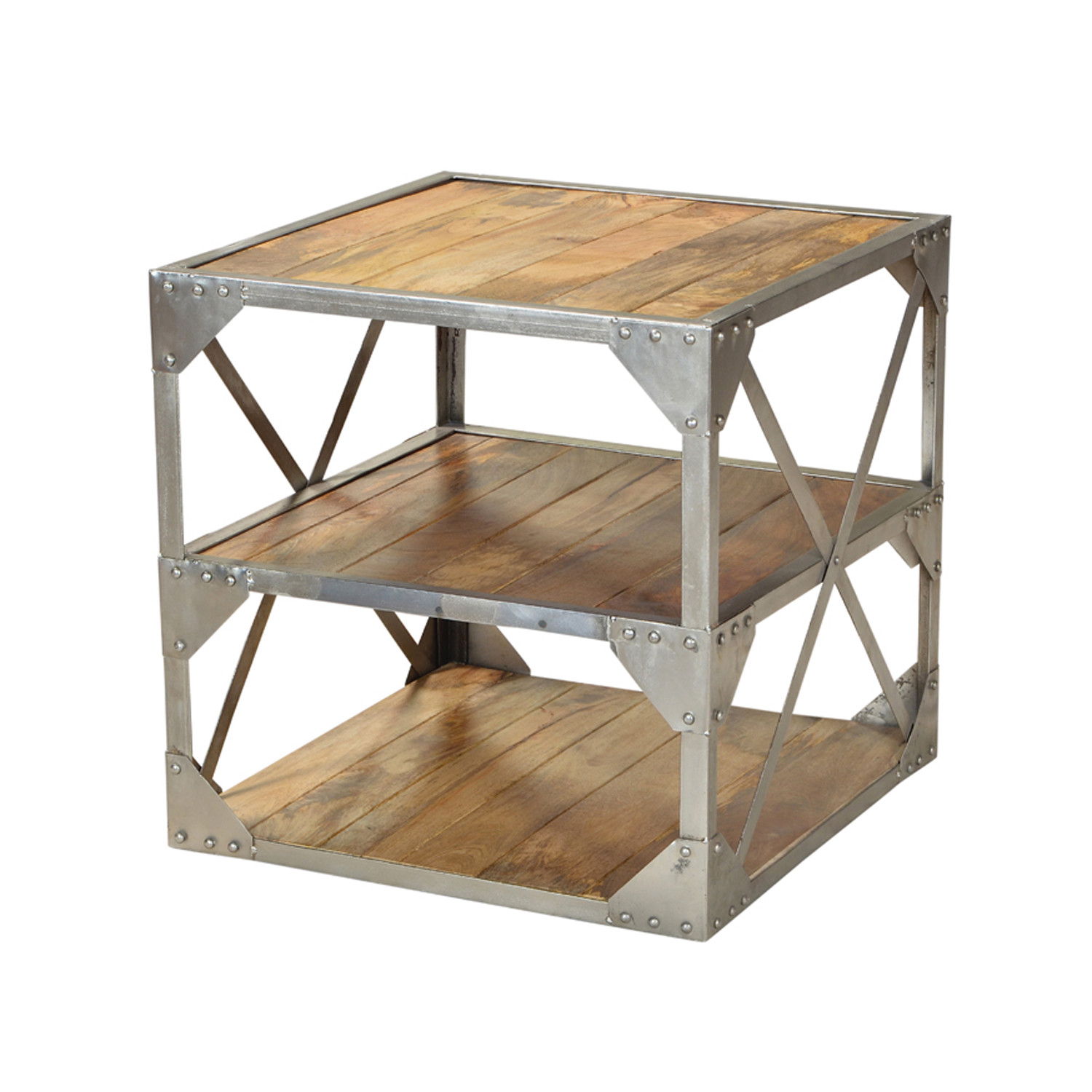 Modern Industrial Side Table Nickel Finish Cdi