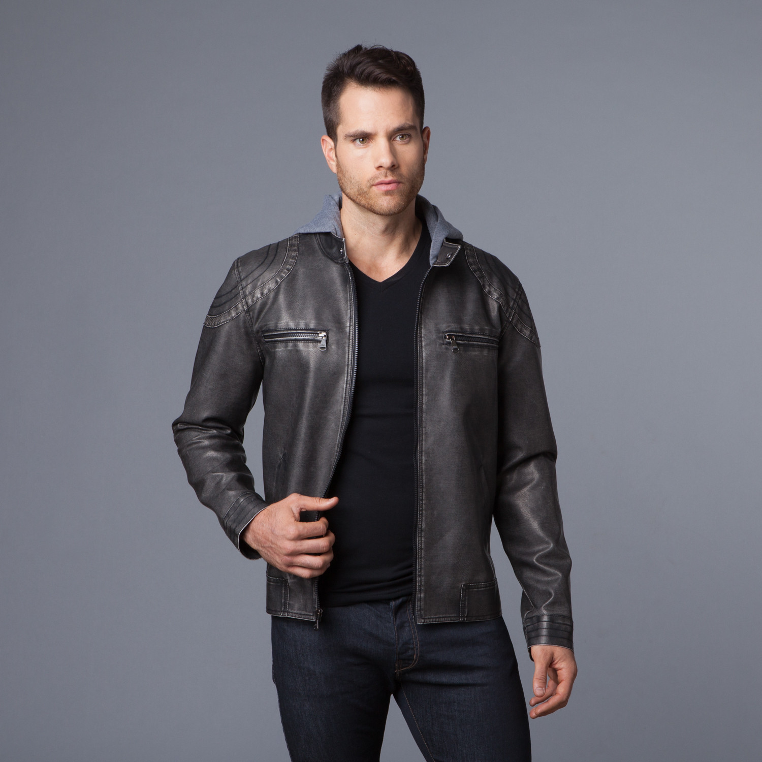 Two-Tone Leather Jacket   Fleece Hood // Black (S) - Urban ...