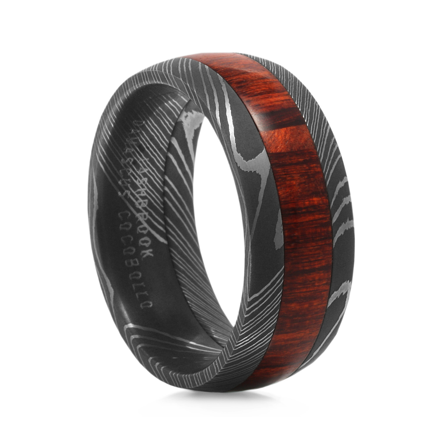 Lashbrook Arbor Damascus Steel Ring With Wood Inlay Size 7