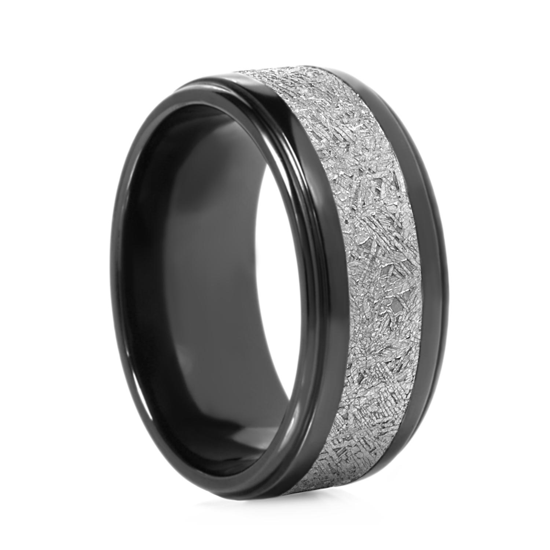 Lashbrook Navarro Black Zirconium & Meteorite Ring Size 7