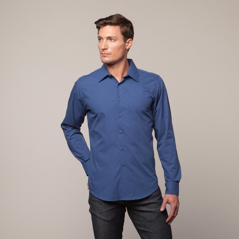 Button Up Shirt Navy Blue S Vitali Touch Of Modern