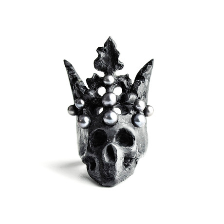 Black Pearl Crown Ring (Size: 5)