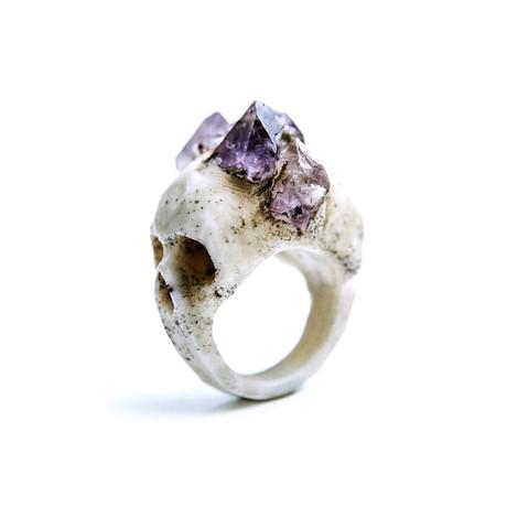 Bifacial Skull Ring // White (Size 10)