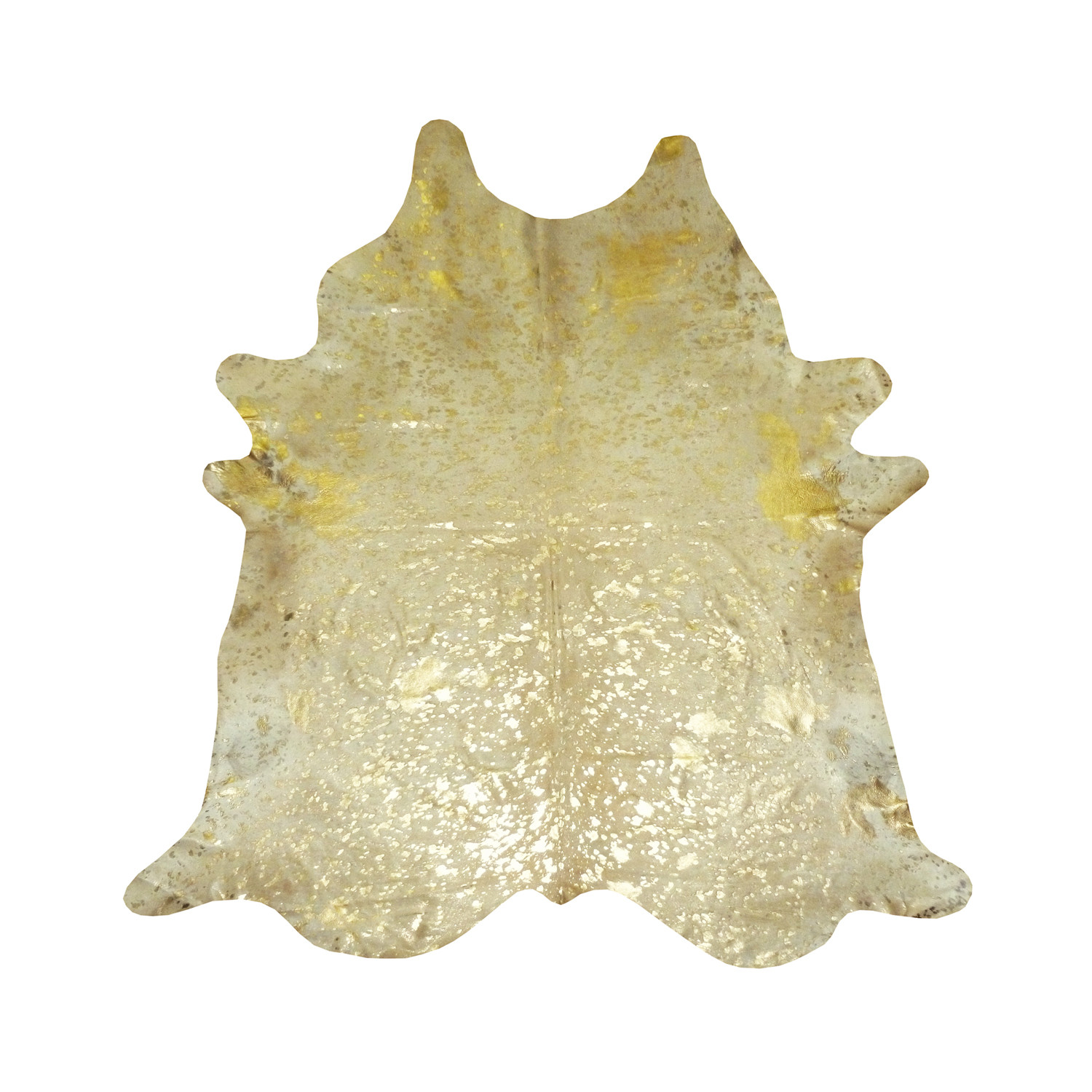 gold metallic on white cowhide rug