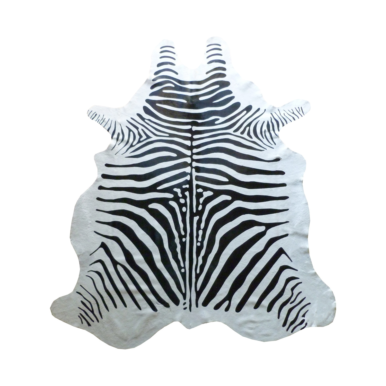 Acura Rugs Animal Hide White Black Zebra Area Rug: Black + White Stenciled Zebra // Cowhide Rug