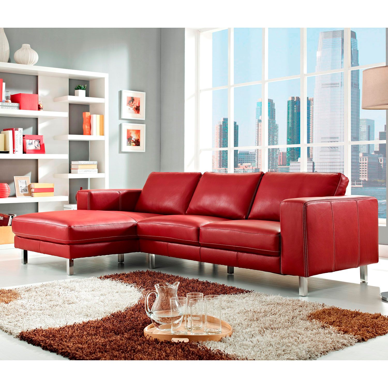 Anika Sectional Sofa Red Left Facing Chaise Creative
