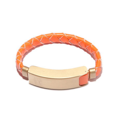Braided Leather Cabelet Micro USB // Orange (Small)