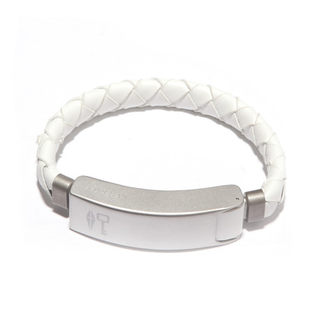Braided Leather Cabelet MAC // White (Small)