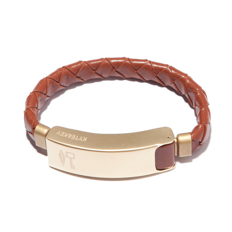 Braided Leather Cabelet Micro USB // Brown (Small)