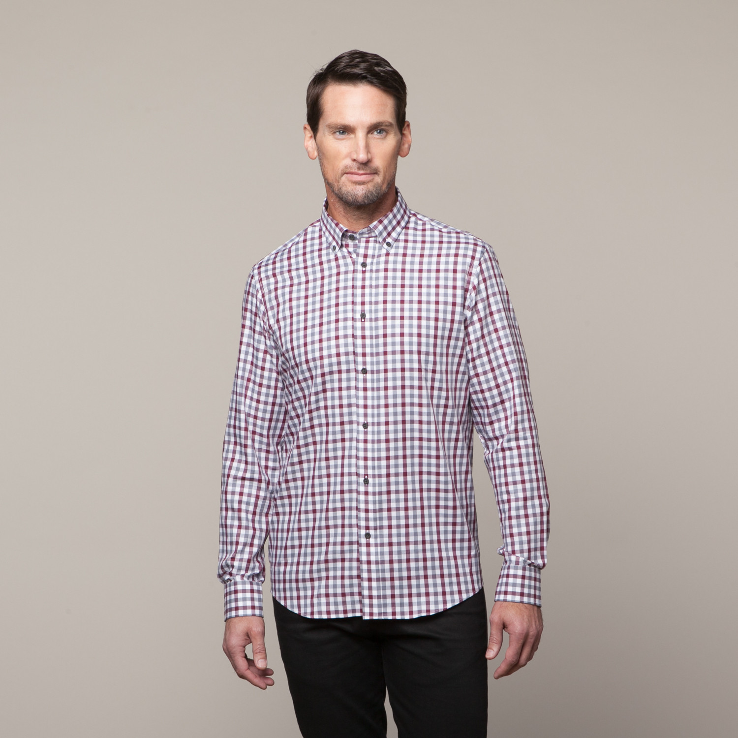 Button Up Shirt Red Grey Check S Report