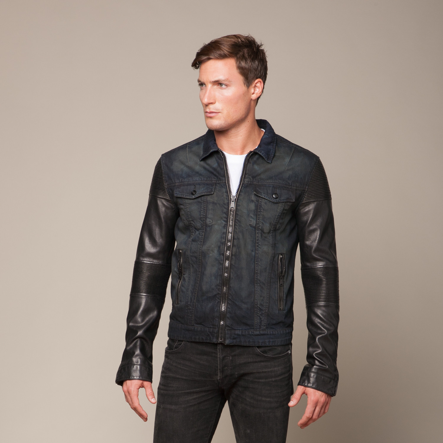 bee2474a1 Rogue // Denim Jacket + Faux Leather Sleeves // Black (L) - Rogue ...