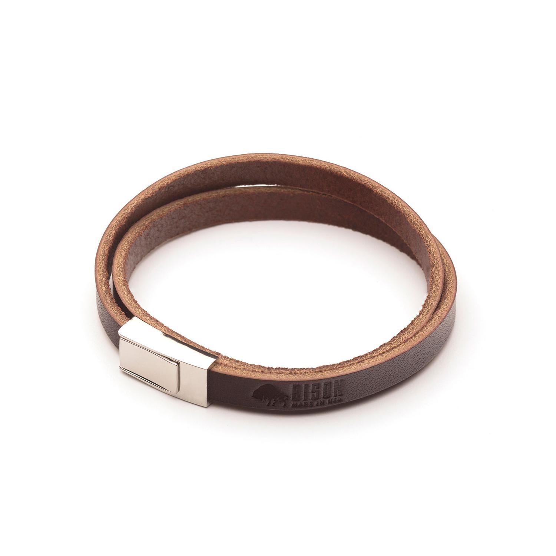 Double Wrap Leather Bracelet Brown