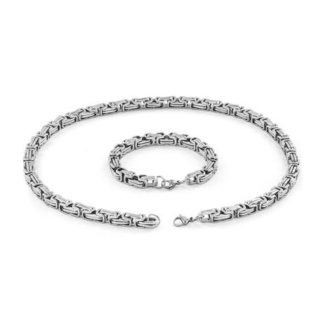 Byzantine Chain Necklace + Bracelet // Silver